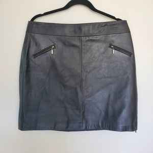 Leather mini skirt side zip sexy
